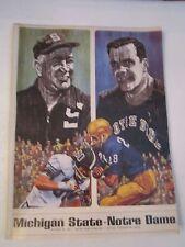 1967 NOTRE DAME VS MICHIGAN STATE  FOOTBALL PROGRAM & GAME TICKET STUB - TUB CBB