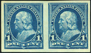 US #264a; 1¢ FRANKLIN IMPERFORATE HORIZONTAL PAIR, XF-OG-LH, PF CERT, CV $275