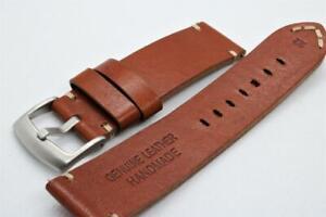 22mm Handmade Watch Strap Double Layer Cowhide Corners Stitch Mahogany