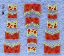 Nail art: 15 stickers bijoux d'ongles: orange et jaune à fleurs