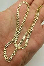 """14k Solid Yellow Gold Cuban Curb Link Necklace Chain 22"""" 3.6mm"""