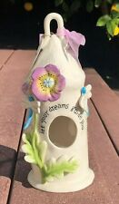 Blue Sky Clayworks Ceramic Birdhouse Let Your Dreams Guide You Tea Light Holder