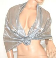 STOLA ARGENTO donna foulard coprispalle scialle elegante cerimonia per abito