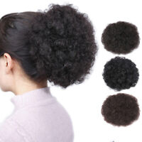 African American Synthetic Curly Wave Hair Clip In Ponytail Short Afro Kinky US
