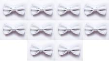 LOT OF 10 White Men's Adjustable Bowties/Bow tie Tuxedo Wedding Necktie