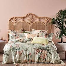 Linen House Briella Stone Quilt Cover Set Rosellas, butterflies ferns & hibiscus
