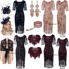 Womens Vintage 1920s Dresses Floary Beaded Cocktail Flapper Dress Sleeves Gatsby