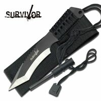 FIXED-BLADE SURVIVAL KNIFE | Black/Silver Tanto Paracord Handle w/ Fire Starter