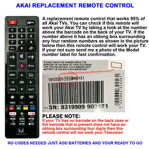 AKAI TV REMOTE CONTROL A REPLACEMENT THAT WORKS 90% OF ALL AKAI LCD/LED TVs