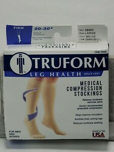 Compression Knee High Stockings Truform Medical Firm 20–30 Mmhg Size Large Beige