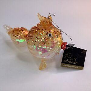 "4"" Robert Stanley Blown Glass Gold BLOWFISH Sea Ocean Theme Ornament NEW W/TAGS"