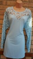 YOURS BLUE LACE LONG SLEEVE LYCRA BAGGY ELEGANT BLOUSE T SHIRT TOP TUNIC 20