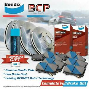 Front + Rear Brake Rotors Bendix 4WD Pads for Nissan Pathfinder R51 16 Wheels