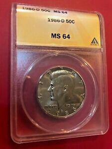 1986-D KENNEDY HALF DOLLAR ANACS MS64 US COIN