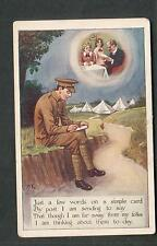 c WWI CPC 406 series military post card I am far away from my folks -am thinking