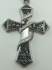 "Large CRUCIFIX Sterling Silver Pendant & 24"" Box Chain Necklace, Religious Cross"
