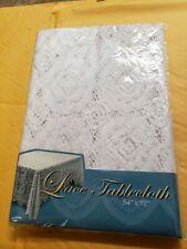 """Lace Tablecloth Rectangle White  Cover Elegant Dining Table 54"""" x 72"""" free ship"""
