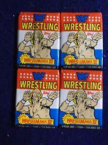 1987 WWF WRESTLING  4 UNOPENED PACK LOT TOPPS