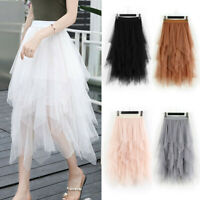 Women Fashion High Waist Mesh Elastic Layered Pleated Tulle Skirt Midi Skirt New