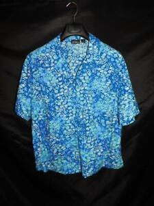 Erika 2X Blue Purple White Floral Shirt Short Sleeve V Neck Button Cotton Rayon