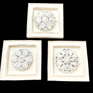 Farmhouse Style Pictures White Chalk Paint Antiqued Ornate Set of 3 Wall Decor