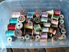 Lot Of 55 Vintage Wooden Sewing Thread Spools- Some w/thread, great for crafts!