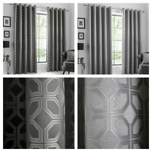 Curtina Geometric Oriental Squares Woven Eyelet Curtains - Charcoal OR Silver