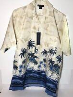 Oscar Misa Blue Hawaiian Palm Trees Blue Waves Men's Short Sleeve Med Shirt