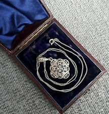 Antique Solid Sterling Silver German Filigree Pendant Necklace Vintage Jewellery