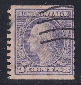 US STAMP #456 3c violet Washington 1916 COIL Used  STAMP crease