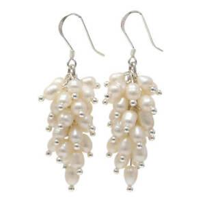 Ohrhänger in Traubenform aus Süßwasser-Perlen & 925 Silber, weiß, Ohrringe Damen