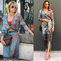 ZARA KIMONO DRESS LONG FLORAL PRINT SIZE S M NEW