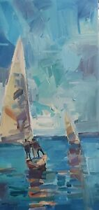 JOSE TRUJILLO Oil Painting IMPRESSIONISM ORIGINAL SEASCAPE BOATS SAILING SINGED