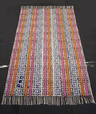 Hand-Woven Block Print Multi Color Striped Designer Rug Kilim Mat