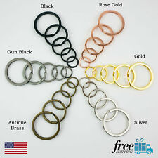 Split Ring Flat Surface Key Rings Double Loop Keychain Metal Plating