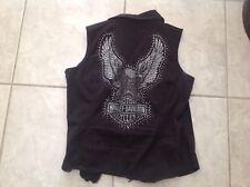 womens harley davidson  vest  short sleeve bling zip up top xl