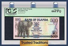 "TT PK 33a 1991 UGANDA 500 SHILLINGS ""ELEPHANT"" PCGS 66 PPQ GEM NEW"