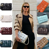 Rosie Huntington Whiteley Genuine Leather Padded Cassette Woven Shoulder Bag