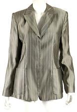GIORGIO ARMANI Silver & Ivory Striped Silk Jacquard Blazer Jacket 44