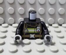 LEGO New Black City Fireman Minifig Torso with Reflective Stripes Pattern