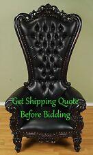 Carved Mahogany Louis XV Beregere Armchair Regal Throne Chair Black Finish Vinyl
