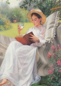 Postkarte: Tony Sheath - Entspannte Zeit / Frau mit Buch u. Wasser in Hängematte