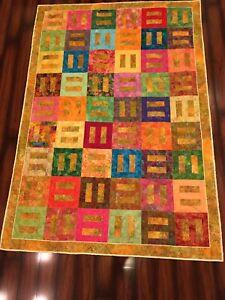 "Handmade cotton batik quilt 66"" x 96"" twin/xl twin yellow green pink purple"