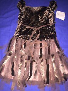 Kate Mack Girls Brown Velvet Sequin & Lace Designer Dress Age 5 Years