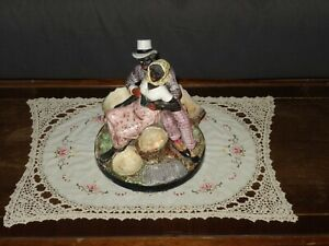 Rare Antique Majolica Figurine Smoking Centerpiece Cigarettes and Matces Stand
