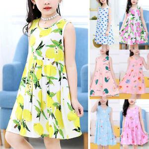 Kids Girls Summer Floral Sleeveless Dress Casual Holiday Swing A-Line Sundress