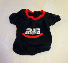"""Small Dog T-shirt Black Red """"These are my groupies"""" Companion Road Pet Fashions"""
