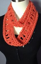 New Handmade Crochet Eternity Infinity Scarf Solid Coral Orange Circle Loop