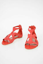 ALEXANDER MCQUEEN women Flat Shoes Red Suede Leather Sandals Shoes Size 37 it...