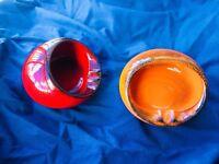 🔴 2 Portacenere UFO in ceramica ORIGINALE anni 70 SPACE AGE orange ashtray